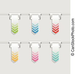 Hung bookmarks - Vertical folded bookmarks or buttons hung...