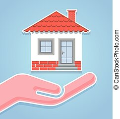 House icon with hand on pale blue background