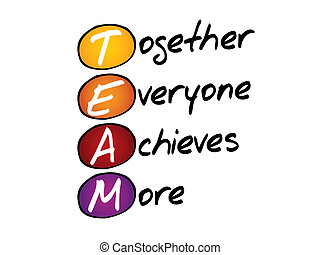 Hand writing Together Everyone Achieves More TEAM, vector...