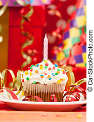 Candele, compleanno, Felice,  Cupcake