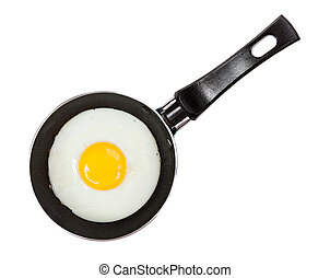 Fried eggs in a frying pan isolated on white background