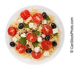 Salad pasta isolated on white background