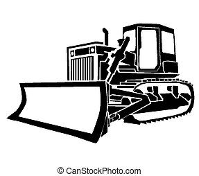 Bulldozer on deer silhouette clip art
