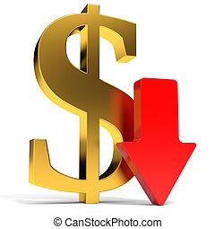Dollar falls. Arrow. 3D illustration.