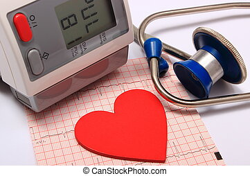 Stethoscope, heart shape, blood pressure monitor and electrocardiogram
