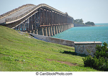 Old Bridge in the Keys, Florida, January 2007 - The old...