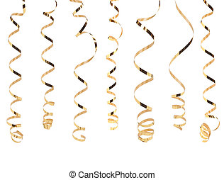 Gold serpentine isolated on white background.