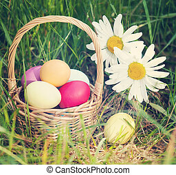 Easter concept - eggs, basket and daisies. Vintage retro...