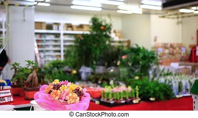 Young man buying bouquet romantic flower market florist HD...