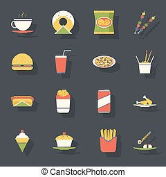 Retro Flat Fast Food Icons and Symbols Set Vector...
