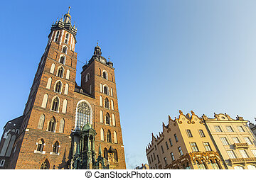 View at St. Mary's Gothic Church. Historical center of Krakow with ancient architecture. Poland.
