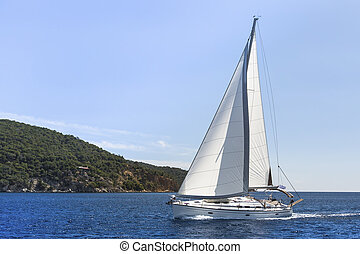 Sailboat cruise on the Mediterranean sea. Sailing. Luxury yacht.