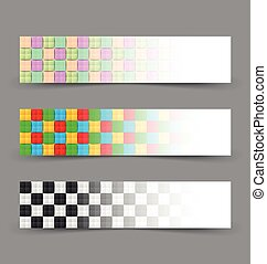 Chessboard banners - Black and white and colorful chessboard...