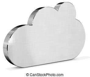 3d metallic silver Cloud on white background