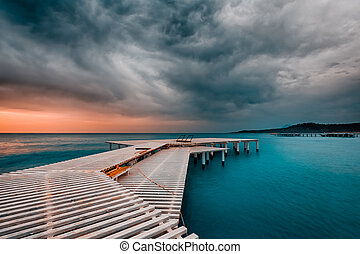 Approaching storm on the sea - Approaching storm over the...