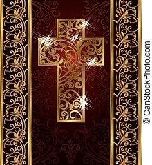 Golden Easter cross, invitation card, vector illustration