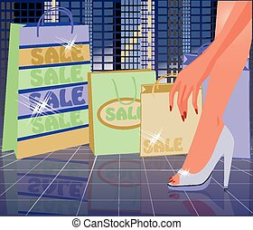 Urban Shopping card, vector illustration