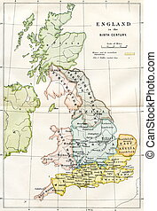 9th Century Map Of Britain - An engraved image showing a 9th...