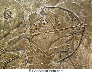 Assyrian Warriors - Assyrian 8th century BC relief showing...