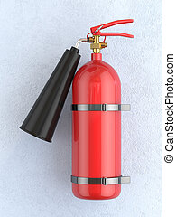 Red extinguisher - 3d render of red extinguisher on the blue...