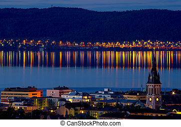 Jonkoping at night. Sweden - Night view of Jonkoping city....