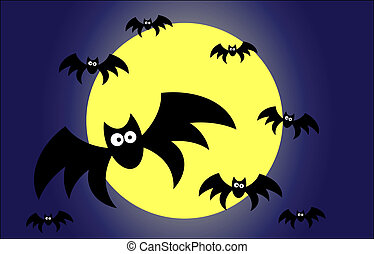 halloween illustration with silhoutte of bats
