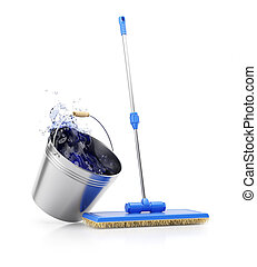 Mop and bucket isolated on white background. Cleaning...