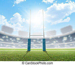 Rugby Stadium And Posts - A rugby stadium with rugby posts...