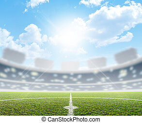 Stadium And Soccer Pitch - A soccer stadium with a marked...