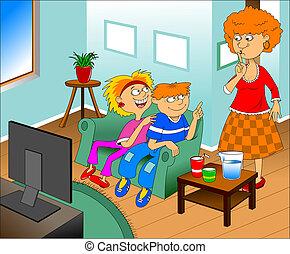 interesting TV show - Illustration of a happy children...