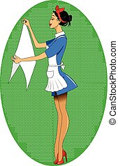 maid.eps - maid hanging laundry to dry, vector and...