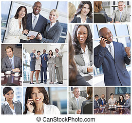 Interracial Business Men and Women Working Team - Montage of...