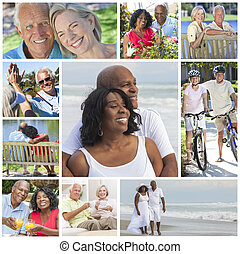 Interracial Senior Couples People Beach Retirement Lifestyle...