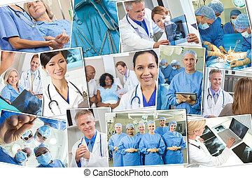paziente,  &, fotomontaggio, medico, infermiere, dottori, ospedale