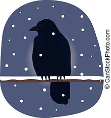 cold and hungry - crow perched on branch in cold, snowy...