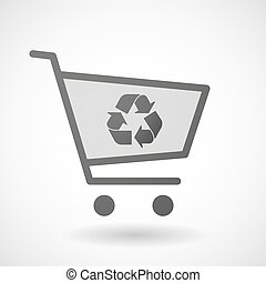 Shopping cart icon with a recycle sign