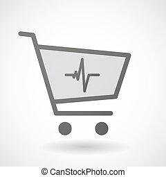 Shopping cart icon with a heart beat sign