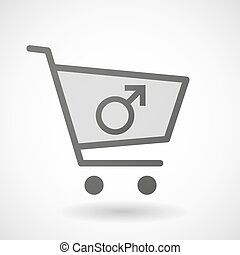 Shopping cart icon with a male sign