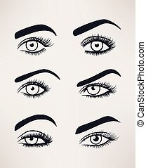 Silhouette of female eyes open, different shapes. -...