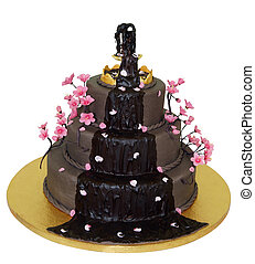 Chocolate Fountain Iced Cake isolated with clipping path...