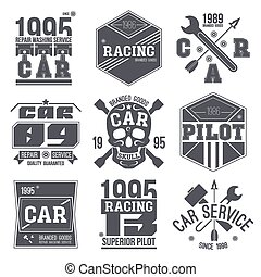Car races and service badges in retro style. Graphic design...