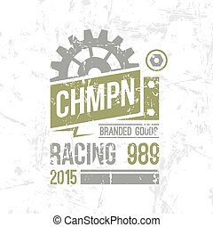 Emblem racing championship in retro style Graphic design for...