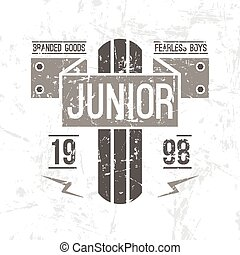 Emblem racing junior in retro style