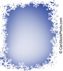 grunge snowflakes frame - grunge decorative frame with lots...