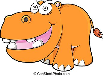 Crazy hippopotamus Vector art