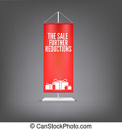 The sale further reductions Vertical red flag at the pillar...