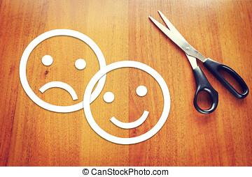 triste, e, Feliz, emoticons, feito, de, papel, ligado, a,...