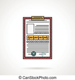 Medical history flat vector icon - Flat color design vector...