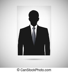 Profile picture whith tie. Unknown person silhouette,...