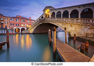 Venice. - Image of Rialto Bridge in Venice at dawn.